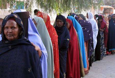 Somaliland Democracy Voter Line w Traditional Dress